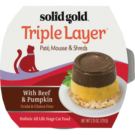 Solid Gold Triple Layer Wet Cat Food with Beef & Pumpkin; Pate, Mousse and Shreds