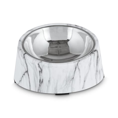 Harmony Slanted Marble-Print Base and Stainless-Steel Dog Bowl Set