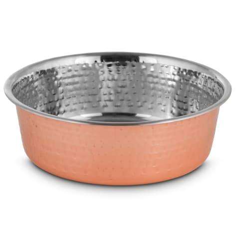 Harmony Copper-Plated and Hammered Stainless-Steel Dog Bowl