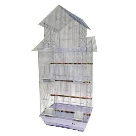 YML Bar Spacing Tall Pagoda Top White Small Bird Cage