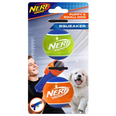 Nerf TPR Squeak Tennis Ball Blue/Green and Blue/Orange Dog Toy