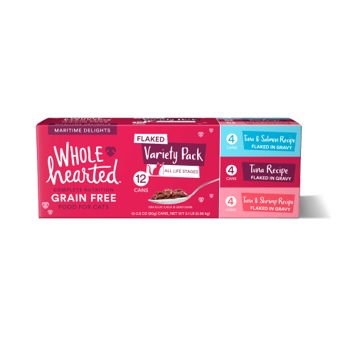 WholeHearted Grain Free Maritime Delights Flaked Wet Cat Food Variety Pack for All Life Stages
