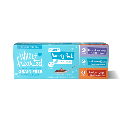 WholeHearted Grain Free By Land and Sea Flaked Wet Cat Food Variety Pack for All Life Stages