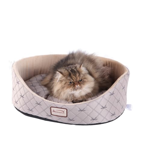 Armarkat Lounger Cat Bed in Silver and Beige