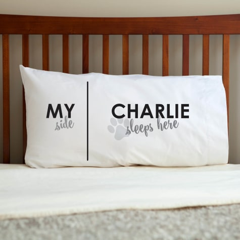 Custom Personalization Solutions Dog Sleeps Here Personalized Pillowcase