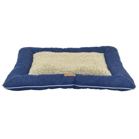 Dallas Manufacturing Denim Pillow Blue Piping Dog Bed