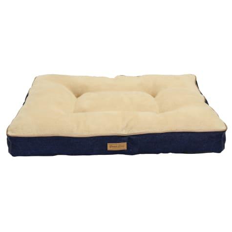 Dallas Manufacturing Denim Gusset Brown Piping Dog Bed