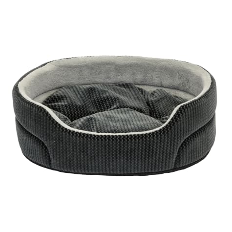 Dallas Manufacturing ZigZag Oval Gray Piping Dog Bed