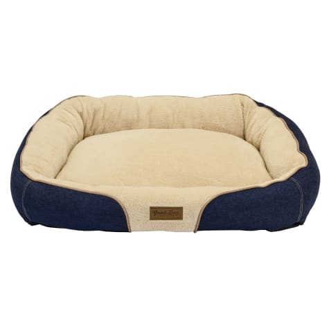 Dallas Manufacturing Denim Bolster Brown Piping Dog Bed