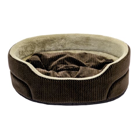 Dallas Manufacturing ZigZag Oval Brown Piping Dog Bed