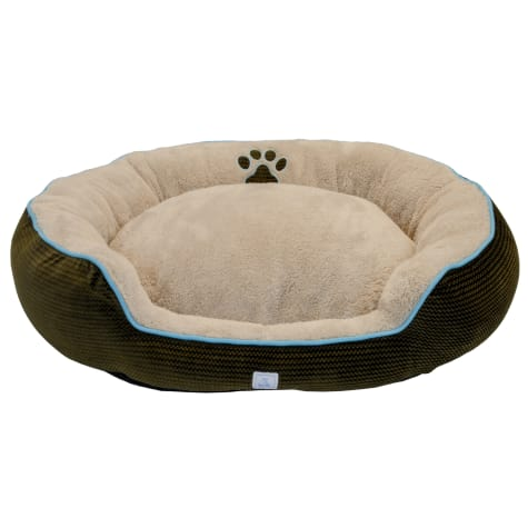 Dallas Manufacturing ZigZag Bolster Brown Piping Dog Bed