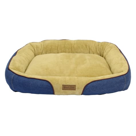 Dallas Manufacturing Denim Bolster Wine Piping Dog Bed