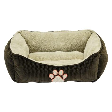 Dallas Manufacturing ZigZag Box Brown Piping Dog Bed