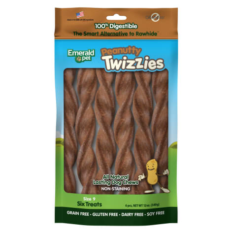 Emerald Pet Products Peanutty Twizzies Sticks for Dogs