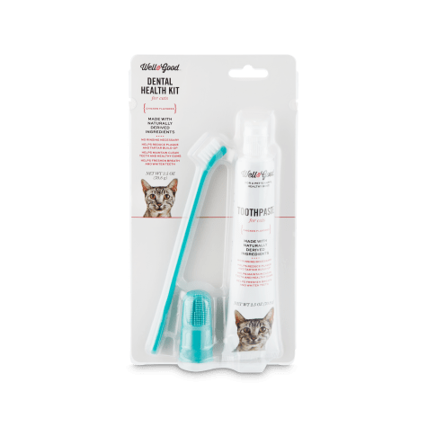 Well & Good Cat Dental Health Kit with Chicken Flavored Toothpaste