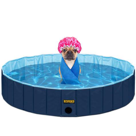 Kopeks Foldable Blue Grooming & Bathing Pool Tub for Dogs