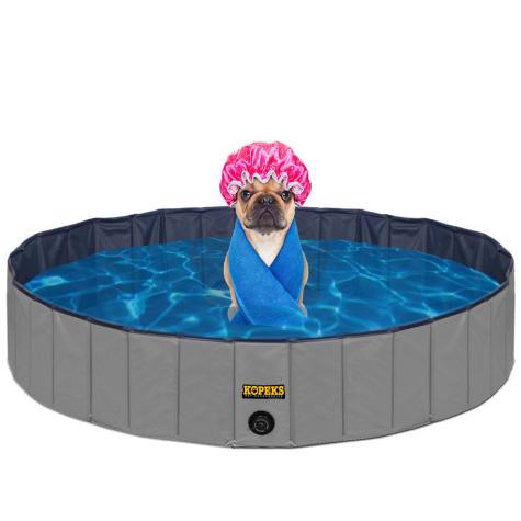 Kopeks Foldable Grey Grooming & Bathing Pool Tub for Dogs