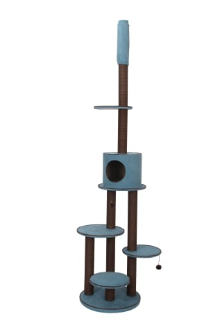 PetPals Group Summit Chenille Adjustable Five Level Cat Tree With Paper Rope Post & Condo
