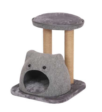 PetPals Group Lena Felt Two Level Cat Tree With Perches And Condo