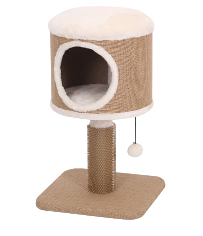 PetPals Group Coddle Jute Two Level Cat Tree With Rubber Massager & Condo