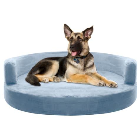 Kopeks Orthopedic Memory Foam Round Grey Sofa Bed for Dogs