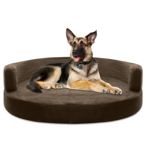 Kopeks Orthopedic Memory Foam Round Brown Sofa Bed for Dogs