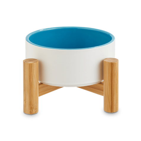 Reddy White Ceramic & Bamboo Elevated Pet Bowl