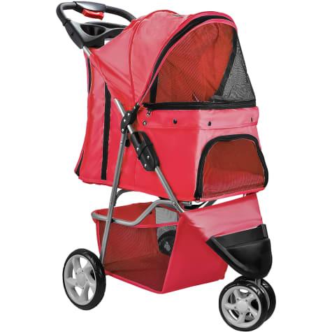 Paws & Pals EZ Folding Red Pet Stroller