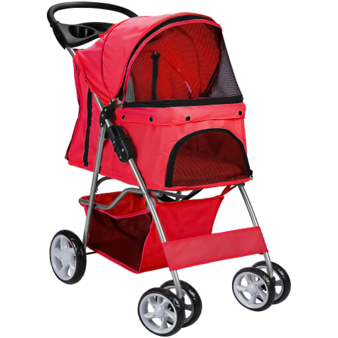 Paws & Pals EZ Walk 4 Wheel Red Pet Stroller