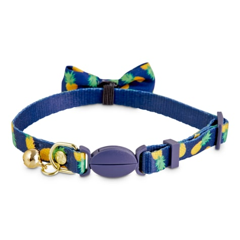 Bond & Co. Navy Pineapple Print Breakaway Bow Tie Cat Collar