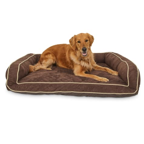 Memory Foam Brown Couch Dog Bed