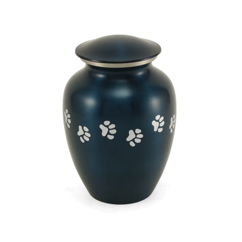 A Pet's Life Personalized Brass Paw Print Cremation Urn, Blue, Pet Memorial for Pet Weight Up to 80 lbs.