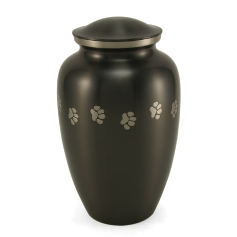 A Pet's Life Personalized Brass Paw Print Cremation Urn, Gray, Pet Memorial for Pet Weight Up to 195 lbs.