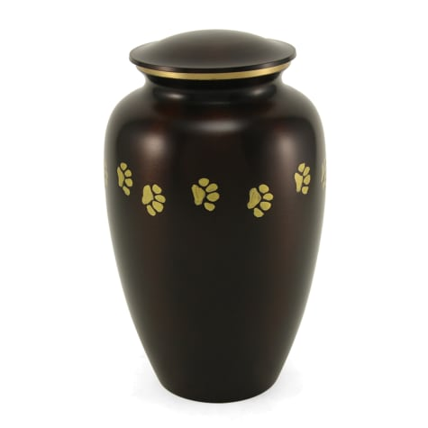 A Pet's Life Personalized Brass Paw Print Cremation Urn, Brown, Pet Memorial for Pet Weight Up to 195 lbs