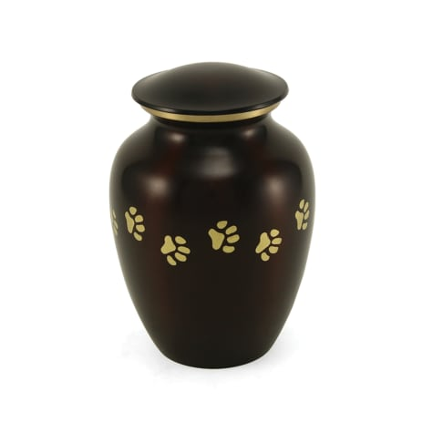 A Pet's Life Personalized Brass Paw Print Cremation Urn, Brown, Pet Memorial for Pet Weight Up to 80 lbs.