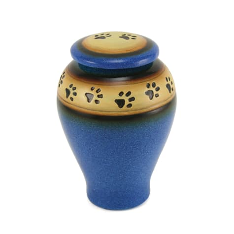 A Pet's Life Personalized Ceramic Paw Print Cremation Urn, Blue, Pet Memorial for Pet Weight Up to 60 lbs.