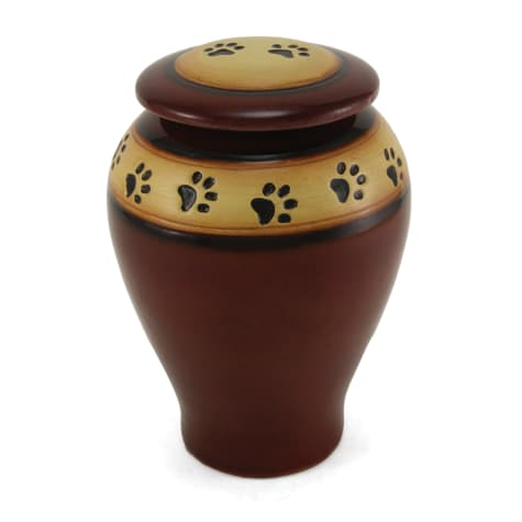 A Pet's Life Personalized Ceramic Paw Print Cremation Urn, Red, Pet Memorial for Pet Weight Up to 120 lbs.