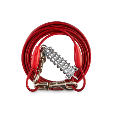 You & Me Trusty Tether Tie-Out Cable with Spring Stake for Dogs up to 100 lbs.