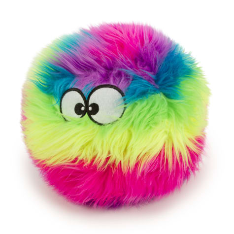 goDog Rainbow Furballz with Chew Guard Technology Durable Plush Squeaker Dog Toy