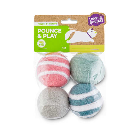 Leaps & Bounds Playful by Nature Pounce & Play Wool Cat Ball Toys