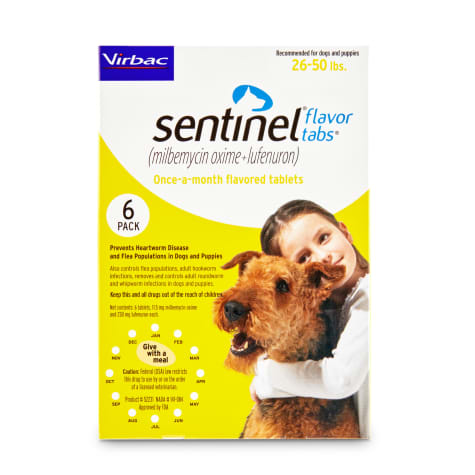 Sentinel Flavor Tablets for Dogs 26 to 50 lbs.