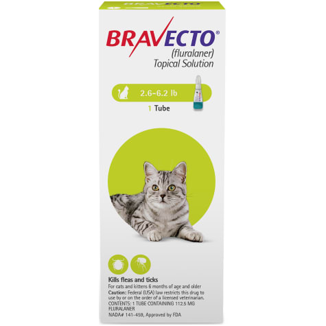 Bravecto Topical Solution for Cats 2.6-6.2 lbs., Single 12-Week Dose