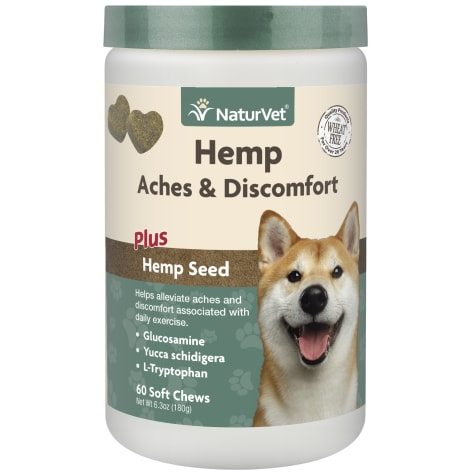 NaturVet Hemp Aches & Discomfort Plus Hemp Seed Soft Chews for Dogs