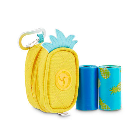 So Phresh Pineapple-Shaped Fabric Dog Waste Bag Dispenser with Refill Rolls
