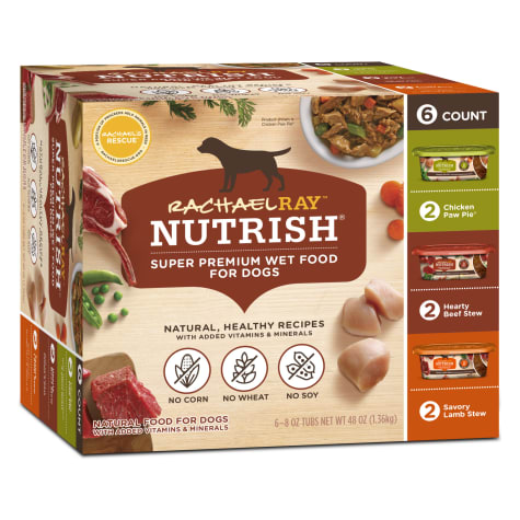 Rachael Ray Nutrish Natural Hearty Beef Stew, Chicken Paw Pie & Savory Lamb Stew Variety Pack Wet Dog Food