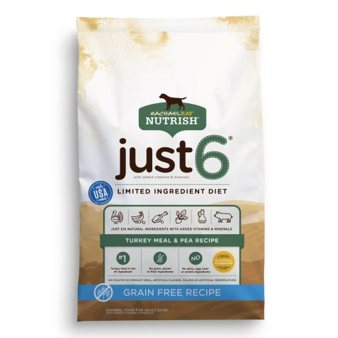 Rachael Ray Nutrish Just 6 Natural Grain Free Turkey Meal & Pea Limited Ingredient Diet Dry Dog Food