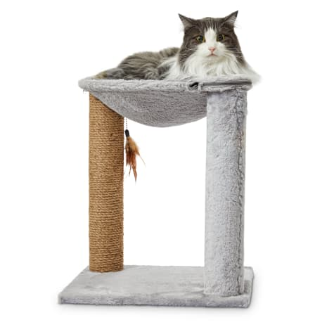 Animaze Grey Cat Hammock with Scratching Post