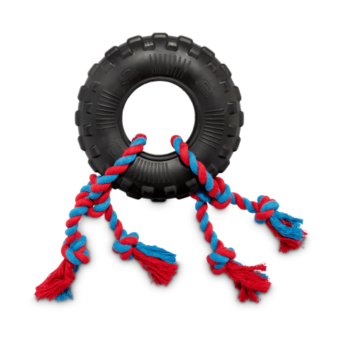 Leaps & Bounds Toss & Tug Tire Dual Rope Dog Toy