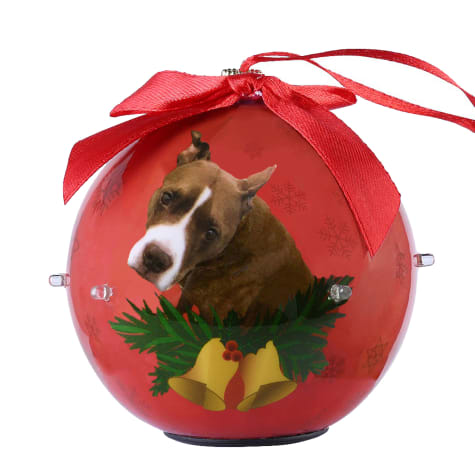 CueCuePet Pitbull Dog Collection Twinkling Lights Christmas Ball Ornament