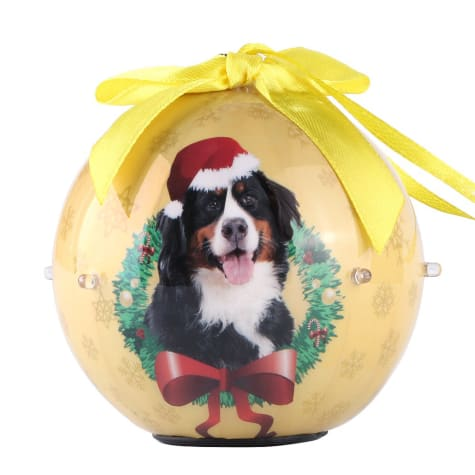 CueCuePet Bernese Dog Collection Twinkling Lights Christmas Ball Ornament